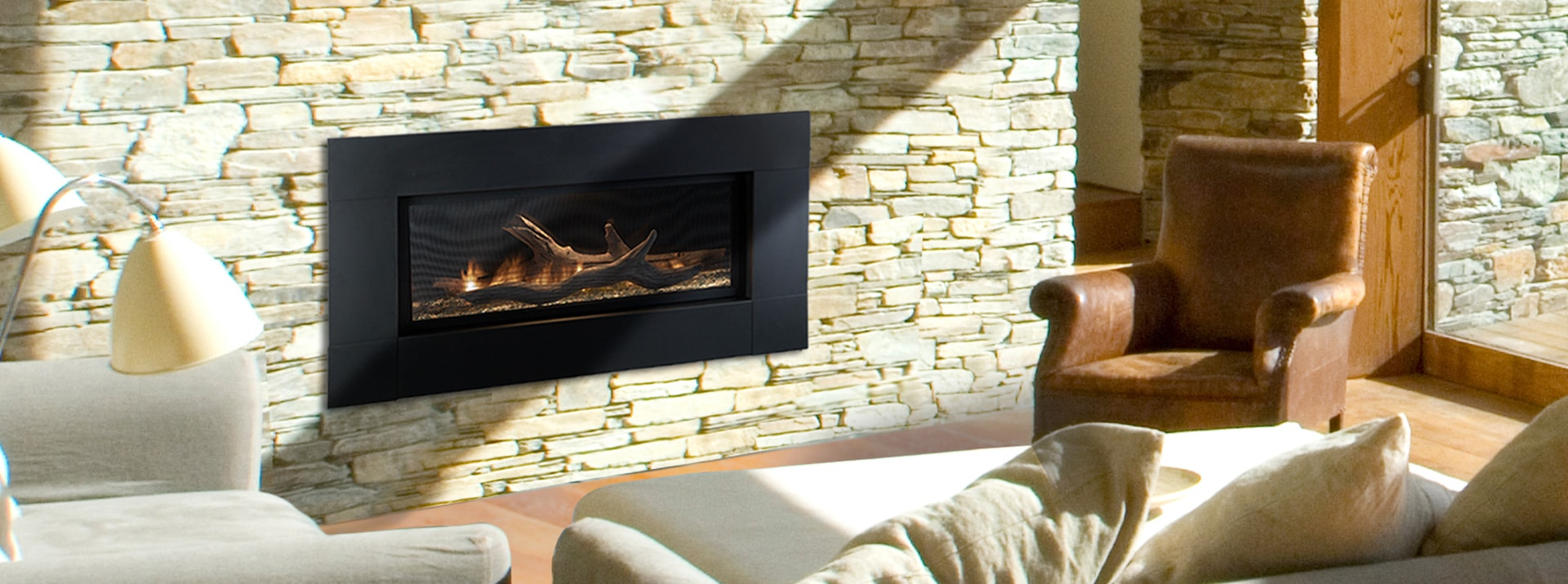 ventless linear gas fireplace