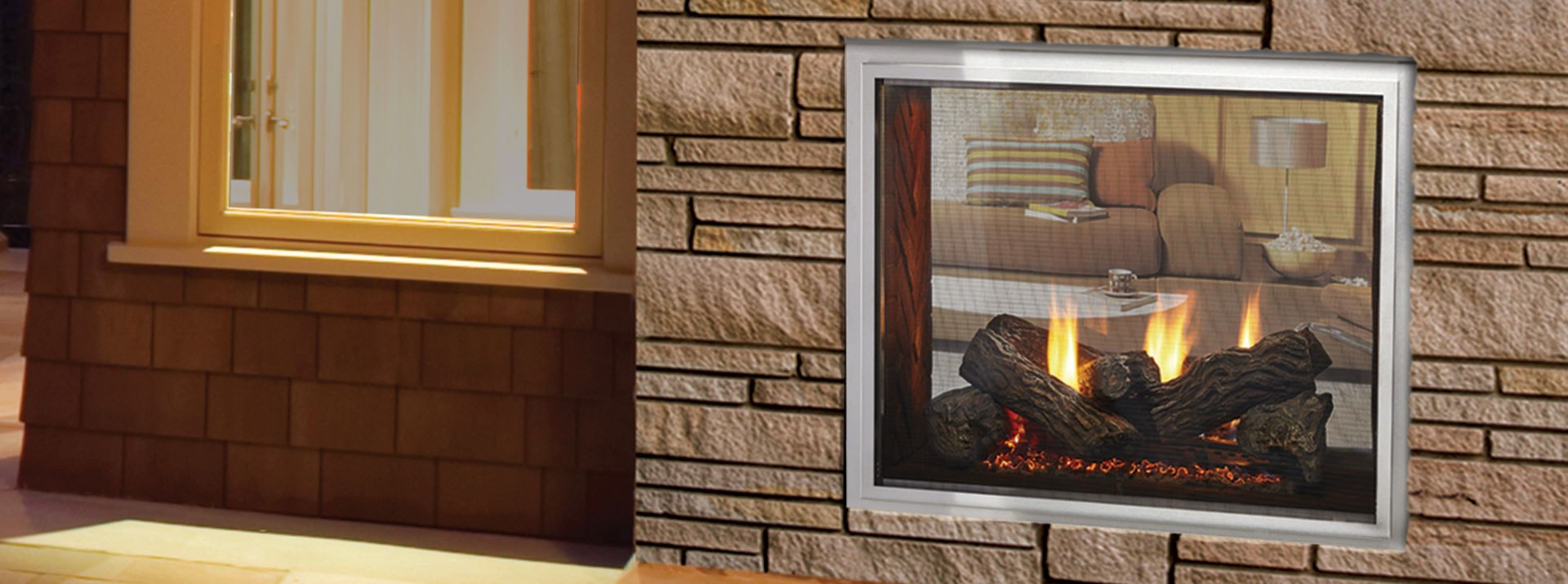 Fortress See-Through Gas outdoor Fireplace | Monessen Hearth