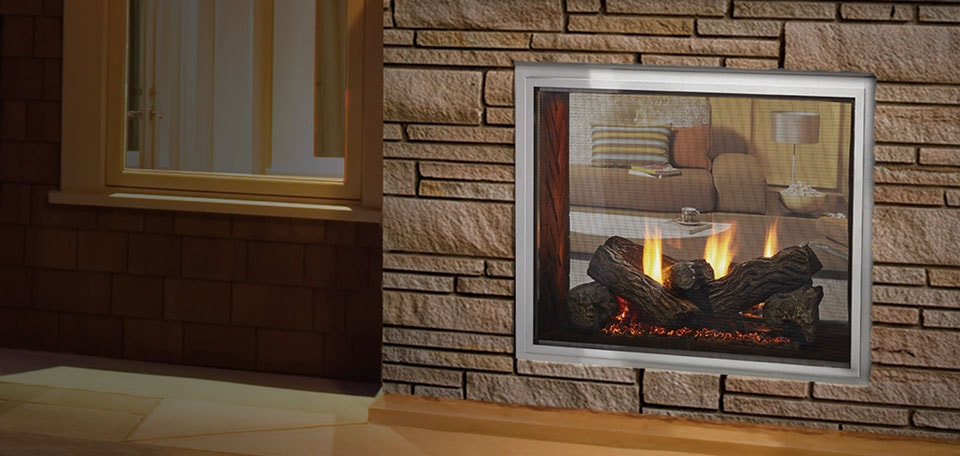 Fortress see through gas outdoor fireplace for Through fireplace